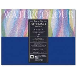 73611824 Альбом для акварели Watercolour 18х24 см 300 г/м.кв. 20 листов склейка с 4 сторон Fabriano Италия