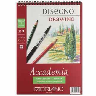 44202129 Альбом для влажных техник на спирали Accademia А4 (21х29,7 см) 200 г/м.кв. 30 листов Fabriano Италия