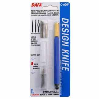 Нож макетный С-604P пластиковая ручка 8 сменных лезвий и 4 насадки DAFA