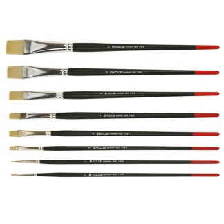 Кисточка «Kolos» Milk 1108B Синтетика плоская №10 длинная ручка белый ворс
