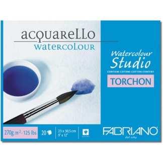 72703045 Альбом для акварели Watercolour Studio Torchon 30,5х45,5 см 270 г/м.кв. 20 листов склейка с 4 сторон Fabriano Италия