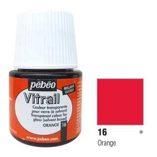 Краска по стеклу и металлу лаковая прозрачная Vitrail 016 Оранжевый 45 мл Pebeo