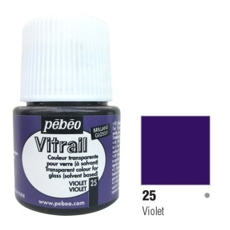 Краска по стеклу и металлу лаковая прозрачная Vitrail 025 Фиолетовый 45 мл Pebeo