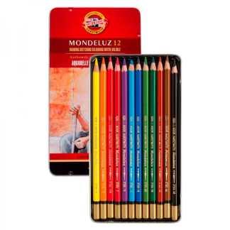 Набор акварельных карандашей Mondeluz 12 цветов в металлической коробке Koh-i-Noor