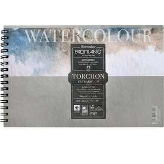 19100282 Альбом для акварели Watercolour Torchon Extra Rough А3 (29,7х42 см) 300 г/м.кв. 12 листов на спирали Fabriano Италия