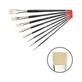 Кисточка «Kolos» Milk 1108F Синтетика плоская №02 длинная ручка белый ворс