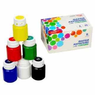 Набор глянцевых акриловых красок для декора 6 цветов по 20 мл 90747255 Rosa Украина