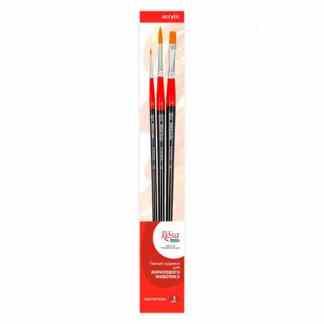 Набор кисточек №4 Синтетика 3 шт. (2 круглые и 1 плоская) длинная ручка Rosa Start