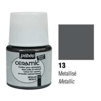 Краска-эмаль лаковая непрозрачная 013 Металлик графитовый 45 мл Ceramic Pebeo