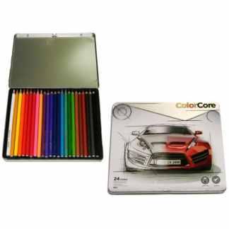 3100-24TN Карандаши цветные 24 цв. шестигранные в  метал. пенале «ColorCore» Marco