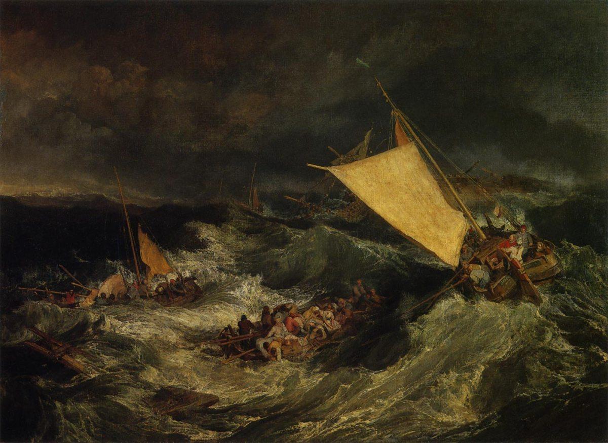 『難破船:乗組員の救助に務める漁船』 ターナー