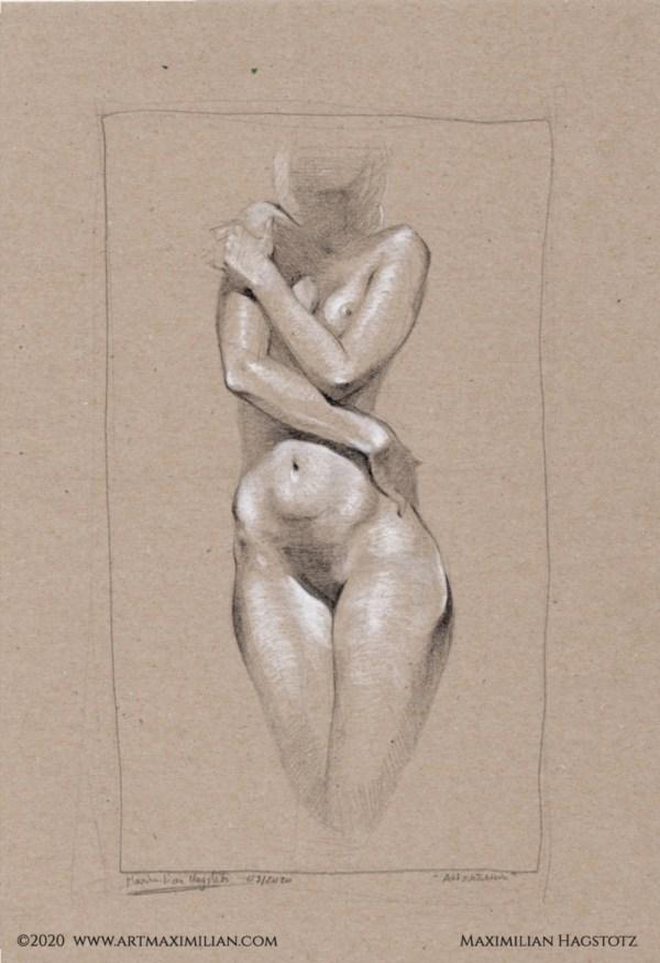 Akt Studie Kunst Maximilian Hagstotz Unikat Licht und Schatten Frau Schönheit sexy erotisch sinnlich Rücken Geschenk Idee Wandkunst individuell Schüchtern