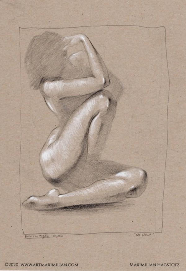 Akt Studie Kunst Maximilian Hagstotz Unikat Licht und Schatten Frau Schönheit sexy erotisch sinnlich Rücken Geschenk Idee Wandkunst individuell
