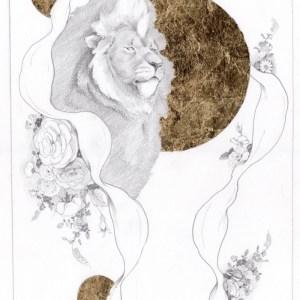 Zeichnung Grafik Neu Bleistift Gold Unikat Maximilian Hagstotz Blumen sonne Afrika Big five 5 Löwe Mähne