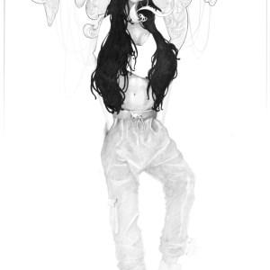 Grafik Kunst Zeichnung Maximilian Hagstotz Traum Kolibri artnoveau Tuch opulent Blumen Bukett Frau Tanzend neu schön viel Geschenkidee Mann Frau Tiere Vögel illustration Deko wandkunst Wallart Vorhang auf baggy pants