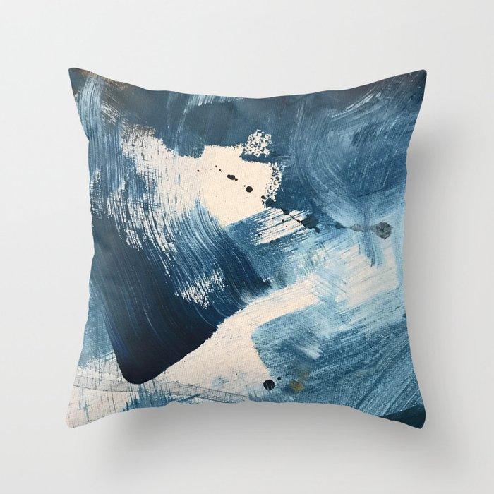 Against the Current by Alyssa Hamilton - blue, white and gold abstract painting Throw Pillow