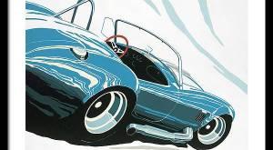 Blue Shelby Cobra Muscle Car Framed Print - Arthur Benjamins