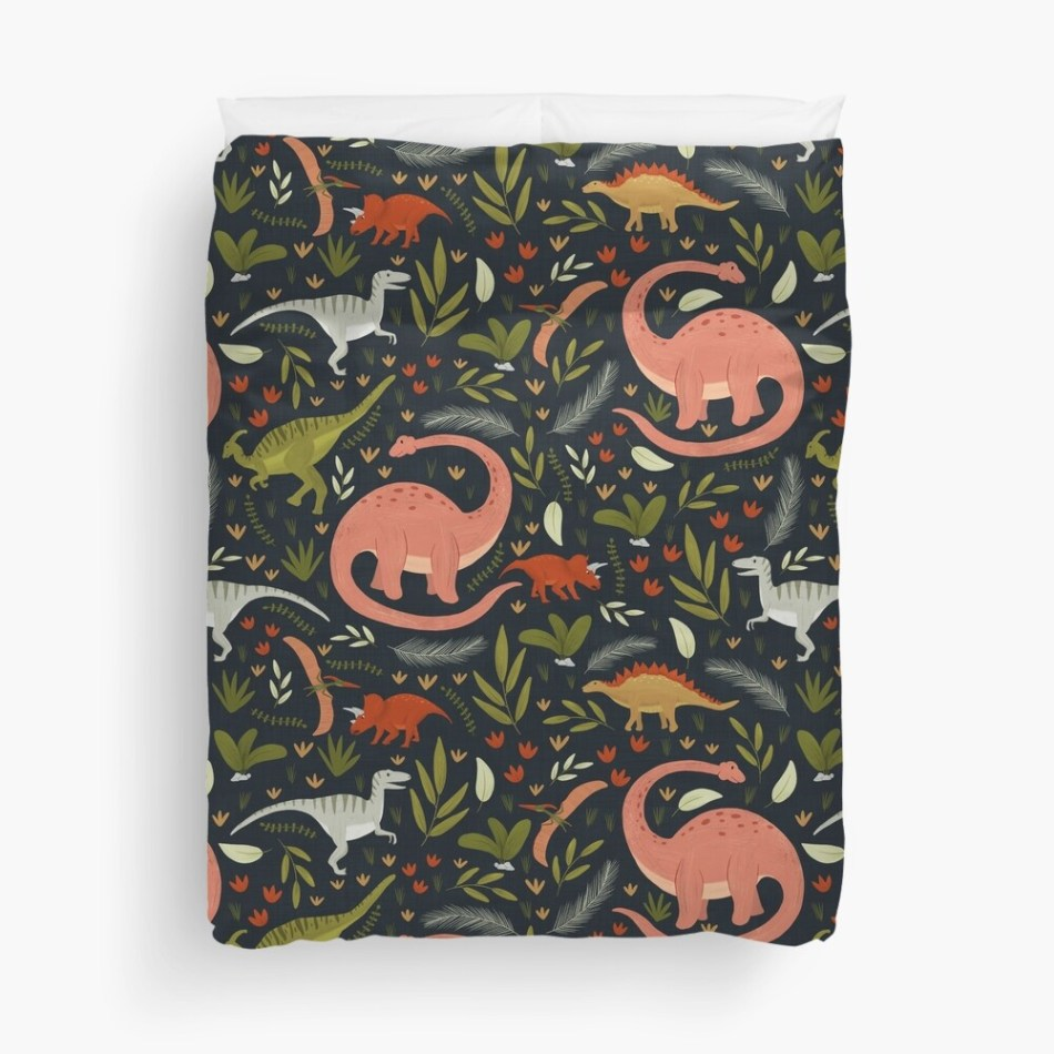 25 dinosaur duvet covers you should see | Dinosaurs Illustration on dark background duvet cover - Dinos in the night by Mel Armstrong