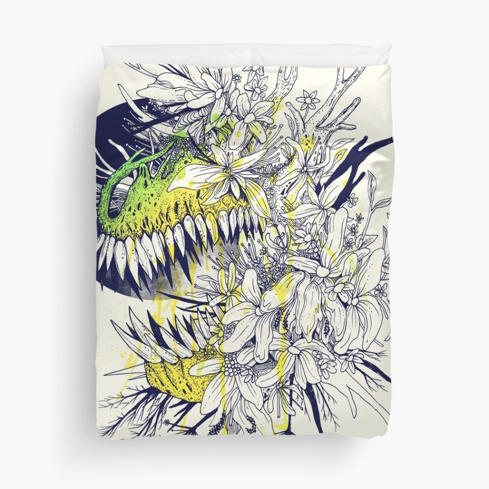 25 dinosaur duvet covers you should see | Grunge t rex dinosaur with flowers duvet cover - No extinction by Jan Pious | Source: Redbubble