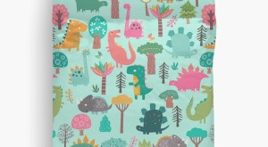 25 dinosaur duvet covers | Pastel Dinosaurs In The Woods Pattern On Mint Background Duvet Cover by Sam Ann you should see