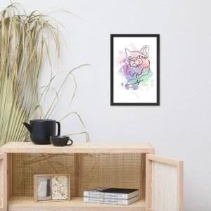 Abstract Line Art Watercolor Cat Portrait Framed Wall Art | Cat #1