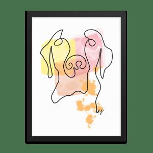 Dog Abstract Line Art framed Wall Decor
