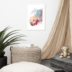 Abstract Line Art Watercolor Cat Portrait Framed Wall Art   Cat #2