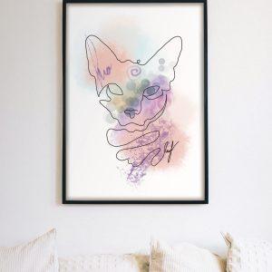 Abstract Line Art Cat Portrait | Instant Printable Digital Download