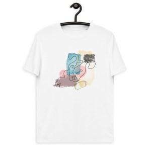 One Line Abstract Art Dog Portrait Short-Sleeve Unisex Organic Cotton T-shirt