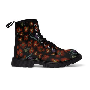 Women's Red Watercolor Floral Boots