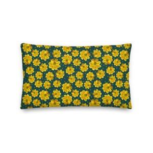 Yellow Zinnia Garden Flower on Dark Green Patterned Throw Pillow with Polka Dot