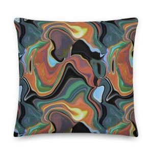 Orange Black Green Blue Fluid Art Patterned Throw Pillow