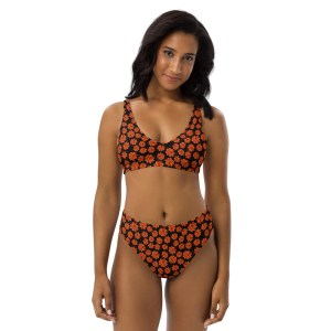 Orange Zinnia Floral Pattern Recycled High-Waisted Bikini Set