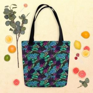Green Blue Zentangle Line Art Watercolor Pattern Shopping Tote Bag