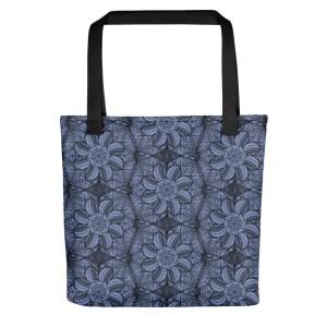 Wild Blue Zen Mandala Lace Pattern Tote Bag
