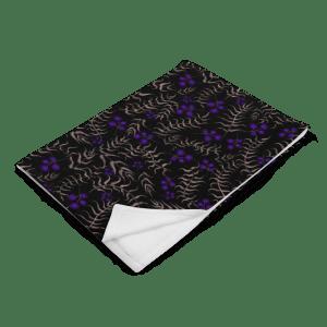 Bronze Leaves and Purple Berries Watercolor Flower Pattern Throw Blanket