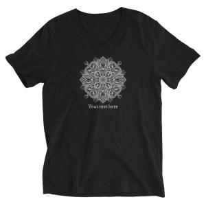 Custom Text Mandala Line Art Unisex Short Sleeve V-Neck Black T-Shirt #5