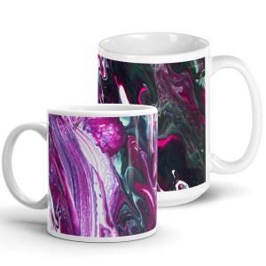 White Glossy Ceramic Mug with Pink and Black Fluid Art Print