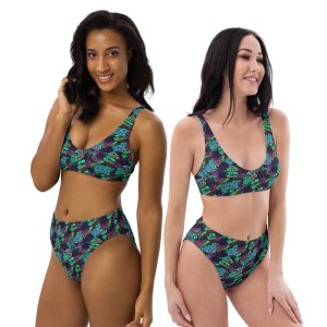 Hand Drawn Floral Zentangle Pattern Recycled High-Waisted Bikini Set