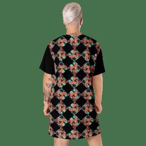 Abstract Painting Print Teal Orange Black T-shirt Dress