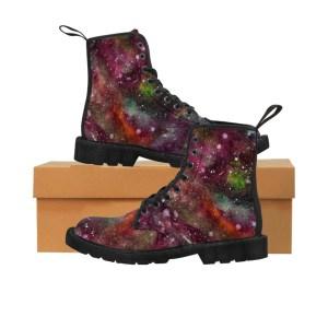 Women's Maroon Watercolor Galaxy Artwork Boots