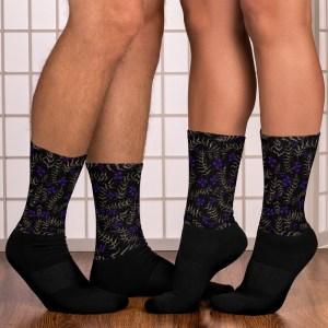 Watercolor Painted Floral Black Socks