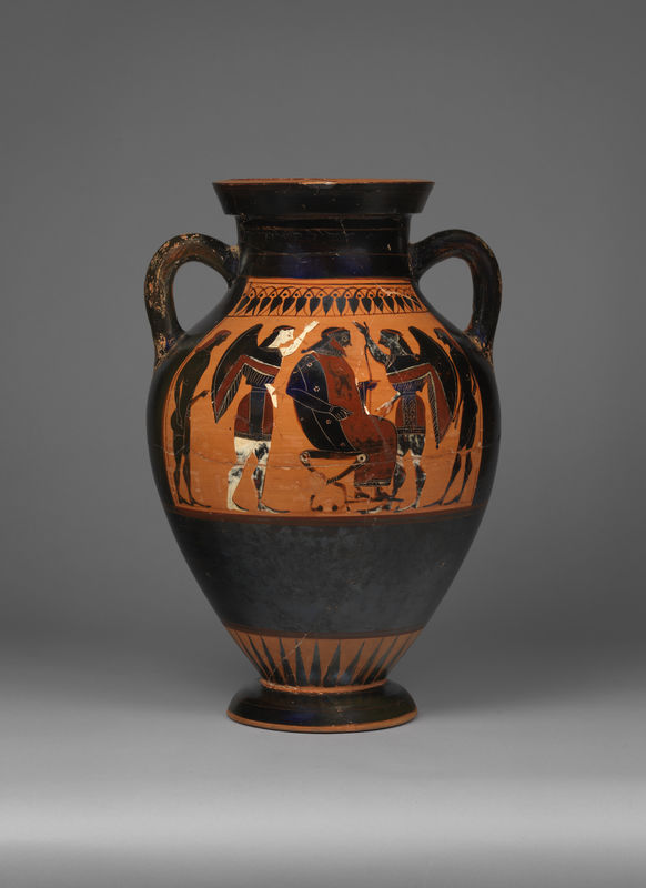 Blackfigure panel amphora Theseus and the Minotaur y168