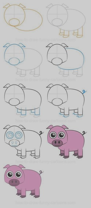 step draw easy drawing drawings pig lessons animals farm practice cartoon tutorials simple dessin funny pigs animal cartoons steps sketches