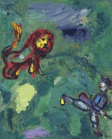 Le Lion Et Le Chasseur : chasseur, Chasseur, Fables, Fontaine, Chagall, Artnet