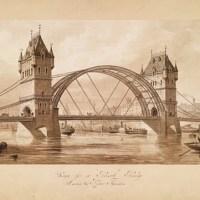 Нереализованный проект для Тауэрского моста. Автор: сэр Гораций Джонс. Тауэрский мост, каким мы его знаем, был построен 16 лет спустя, по его же проекту. Будучи официальным архитектором Лондона, Джонс по определению не имел конкурентов.