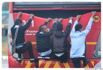 Young people using bus to have some fun