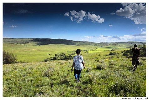Landscape photograph of the countryside at the top of the mountains of Lesotho