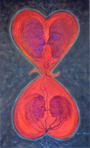 Connected Hearts (Acrylic on canvas, 100Χ60 cm)
