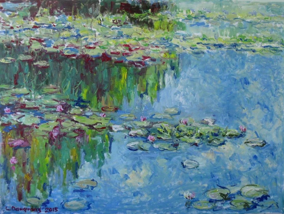 Water Lilies Painting by Liudvikas Daugirdas